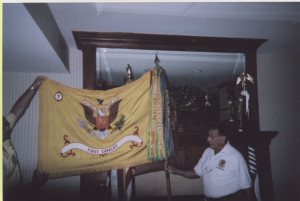 Maj Rodriguez with flag